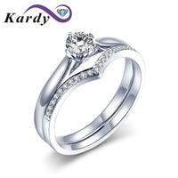 Elegante Real Diamond 14K White Gold Matching Couple Wedding Engagement Promise Propose Fashion Fine Ring Sets for Women