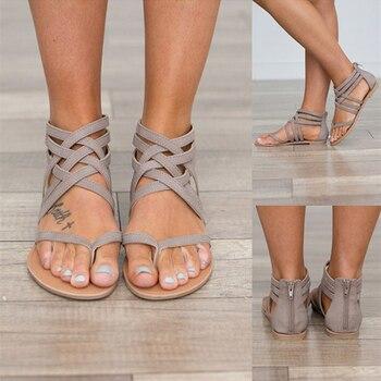 New Women Sandals Fashion Gladiator Sandals For Women Summer Shoes Female Flat Sandals Rome Style Cross Tied Sandals Shoes Women римские сандали