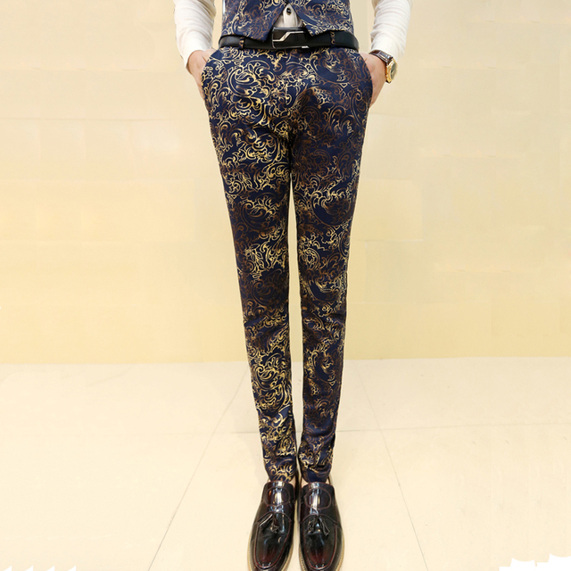 Men's casual pants Retro style Floral print Slim pencil pants male High-quality cotton brown trend of men's trousers K19
