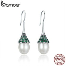 BAMOER High Quality 925 Sterling Silver Elegant Clear CZ Hanging Drop Earrings for Women Sterling Silver Jewelry Brincos SCE204(China)