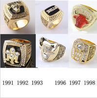 One Set 6 PCS 1991 1992 1993 1996 1997 1998 Chicago Bulls National Basketball Championship Ring