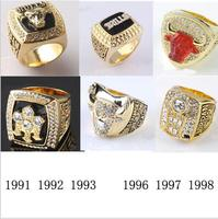 One Set 6 PCS 1991 1992 1993 1996 1997 1998 Chicago Bulls National Basketball Championship Ring
