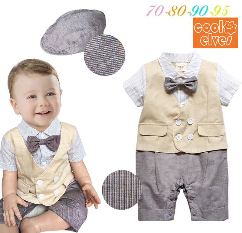 DHL EMS Free shipping Infants Baby boys Kids gentleman Bow tie One pc set Romper overall Hat Suit 70-80-90-95 Baby Boys Clothes