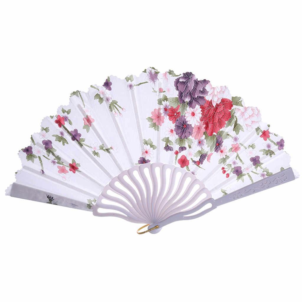 中国風ファンパーティードレスアクセサリー夏ファン結婚式のレースシルク扇子ハンドヘルド花新