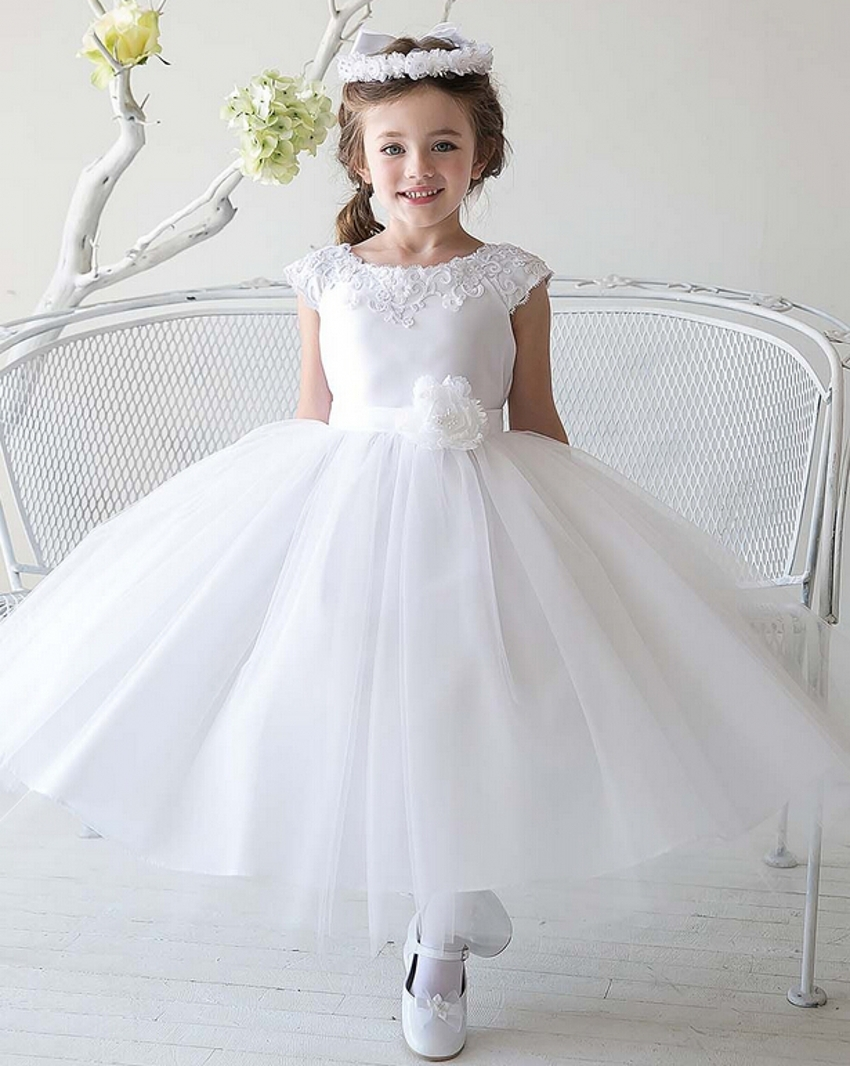 2016 New Cheap Simple Tulle Flowergirl White Flower Girl