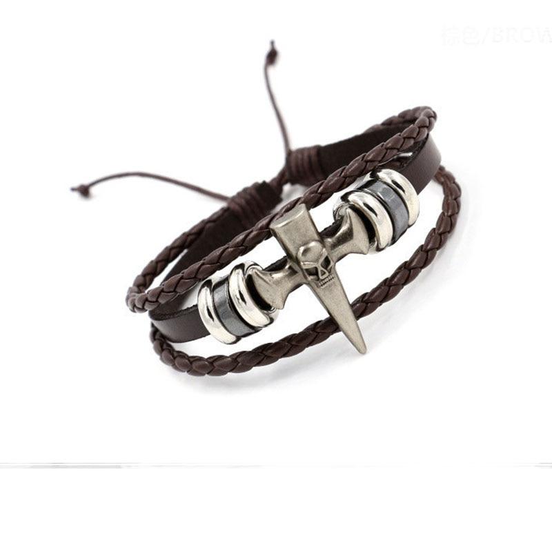 Кастрировать винтаж ретро все матч Бисером на пряжки крест кожаный браслет новый панк ювелирные изделия панк кожаный браслет мужчин