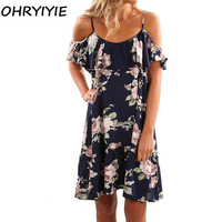 OHRYIYIE 2018 Summer Print Strap Dress Women Loose Sundress Femme Ruffles Dresses Lady Knee Length Boho