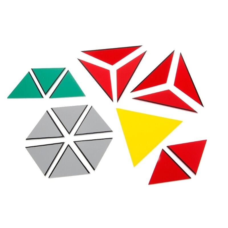 Montessori matériau en bois jouet Triangles constructifs pentagone rectangulaire - 3