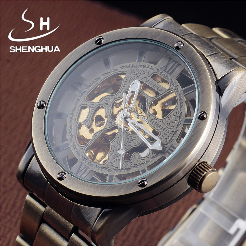 SHENHUA Bronze Automatic Watches font b Men b font Hollow Skeleton Leather Strap font b Mechanical