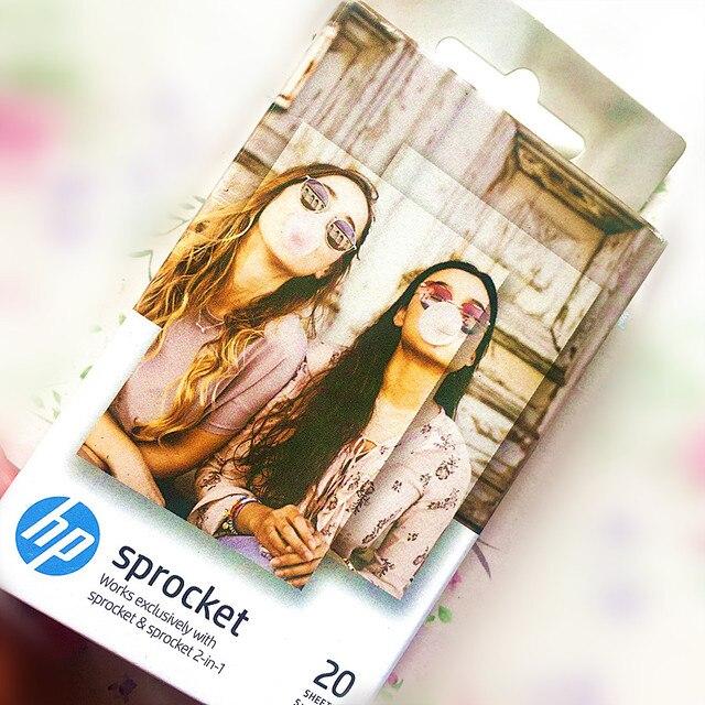 جديد التعبئة 1 صناديق (20 ورقة) ضرس الأصلي التصوير ورقة جيب طابعة صور HP zink لصق ورق طباعة الصور شريط لاصق