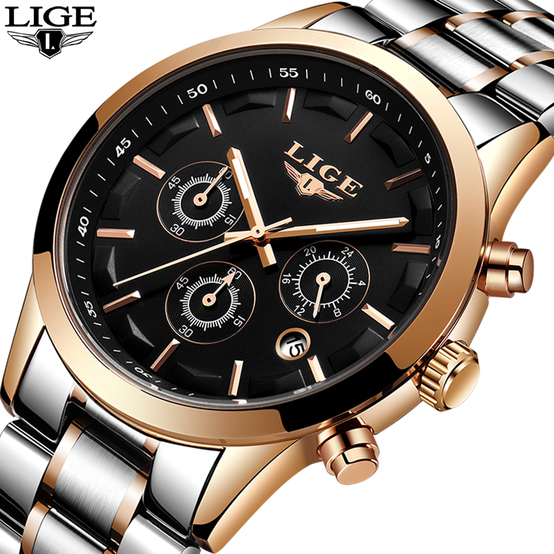 LIGE Mens Watches Top Brand Luxury Men's Waterproof Military Sport Watch Stainless Steel Analog Quartz Watches Relogio Masculino цена