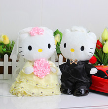 HELLO KITTY occasion plush toy doll 20cm 2pcs / lot KT couple wedding floats easily bear doll one pair of front doll