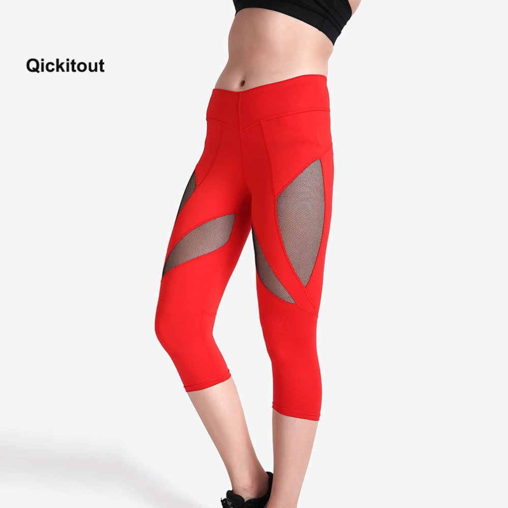 2018 Women Fitness Leggings Stretch Slim Mesh Patchwork   Capri     Pant   Trousers Fashion Women Calf-Length Pencil Red   Pants