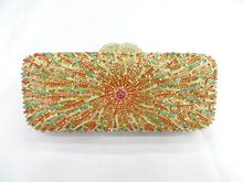8271 Multicolor-B Crystal Flower Floral Bridal Party hollow Metal Evening purse clutch bag handbag