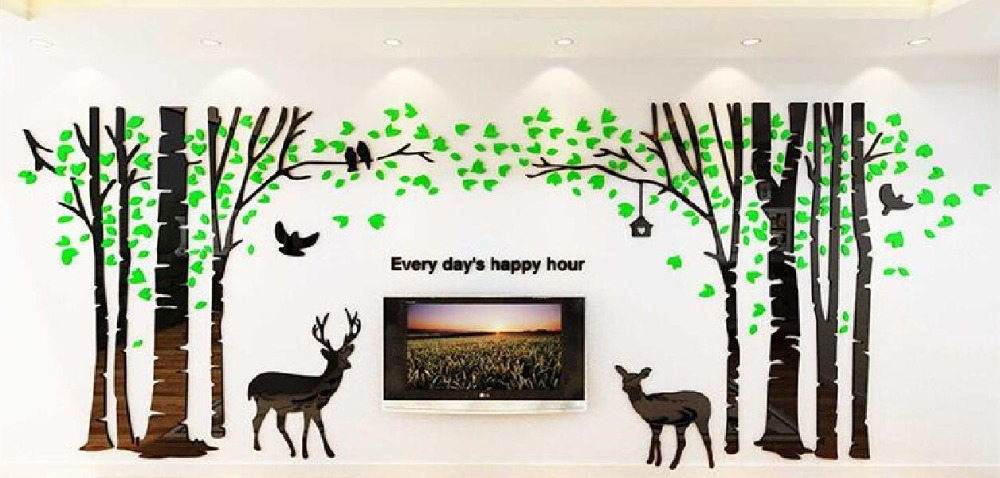 Large Three-dimensional wall sticker Forest Deer Living Room Sofa - Home Decor - Photo 5