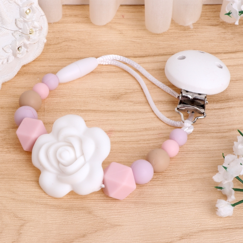 Baby Girls Flower Pacifier Holder Soother Clip Chain Nipple Teether Dummy Strap