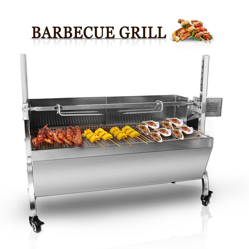 BBQ Grill Manual/Electril Smokeless Mobile Outdoor Carbon Courtyard Barbecue Pits Stainless Steel
