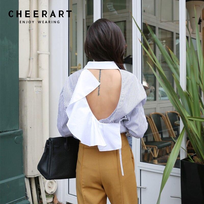 Cheerart Sexy Backless Blouse Autumn 2018 Striped Ruffle Long Sleeve Shirt Women Ladies Top Femme Fall Fashion Clothing Elegant Shape