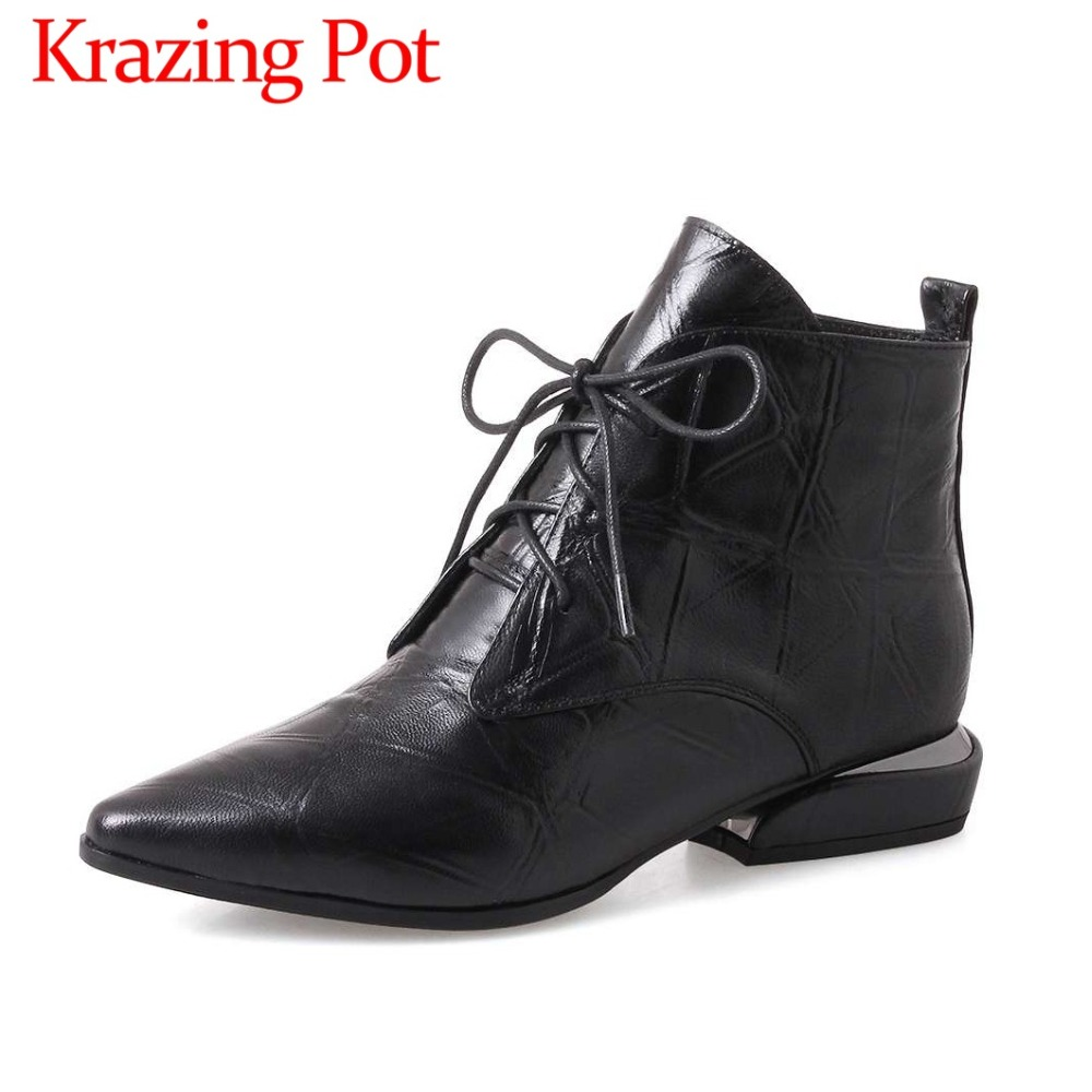 Krazing pot lace up british style oxford pointed toe high quality low heels cow leather retro european style ankle boots L5f5 ankle strap heels wrap full grain leather t low cut uppers british style high quality round toe single shoes with thick soles