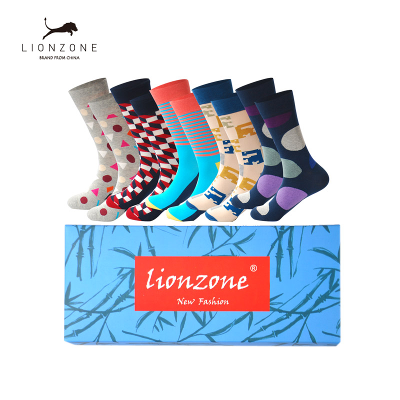 Mens Cotton Colorful Happy Socks Gift Box Fruit Crazy Calcetines Hombre Invierno Funny Skate Socks Lionzone New Arrival 5PCS/Lot