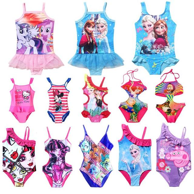 a2fba1db2 Summer style Cartoon Girls one piece swimsuit Anna elsa monster high ...