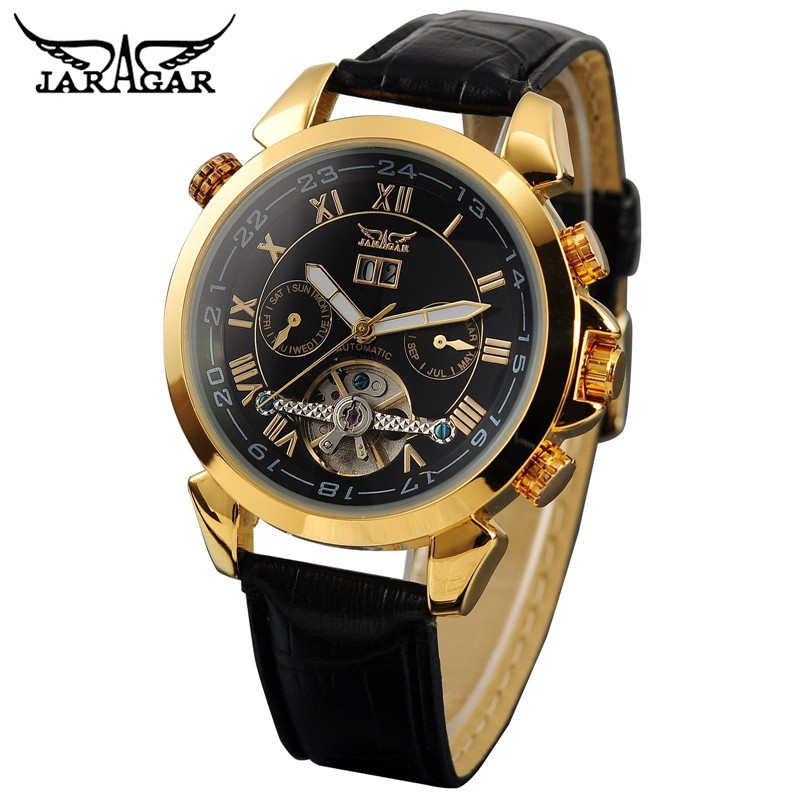 JARAGAR Casual Relogio Masculino Men's Day/Week Tourbillon Auto Mechanical PU Leather Strao Wristwatch Gift Box Free Ship 2016 luxury relogio masculino day week month tourbillon auto mechanical watch wristwatch valentine s day gifts box free ship