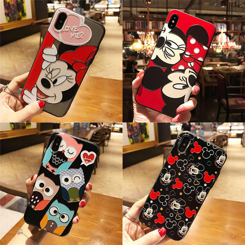 Cartoon Fundas TPU 3D Relief Emboss Print Case For iPhone 11 Pro XS Max XR For iPhone 5 5S SE X 6 6S 7 8 Plus 9 Case Coque Cover