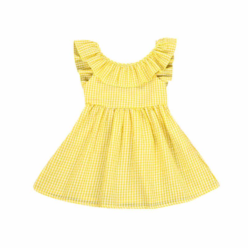 3fdb9b36f019209 Детское платье для маленьких девочек, платье в клетку с открытой спиной и  желтыми оборками,