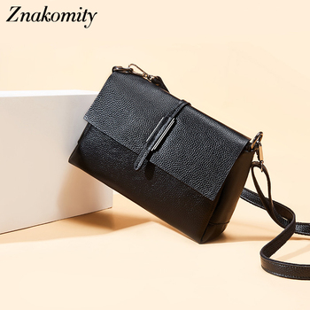 Znakomity Black Women's Bags Shoulder Bag Small Genuine Leather Crossbody Bags for Women European American Style Flap Bag Female