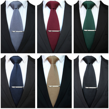 JEMYGINS Men 8CM Formal Knitted Tie With Clip Pin Set Leisur