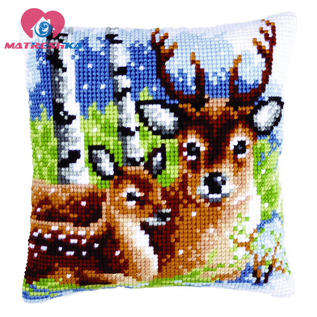 $ US $15.41 cross stitch pillow kit DMC counted cross stitch patterns Cushions cross stitch deer  kits canvas printed needlework Embroidery