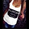 Tanque da moda Tops Mulheres Verão Colete Sem Mangas Ocasional Carta Impressão Encabeça Camisa blusas Tanque Solto Top T-shirt feminina