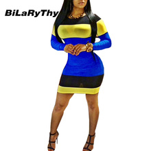 BiLaRyThy New Fashion Color Patchwork Long Sleeve Women Bodycon font b Dress b font Sexy Sheath