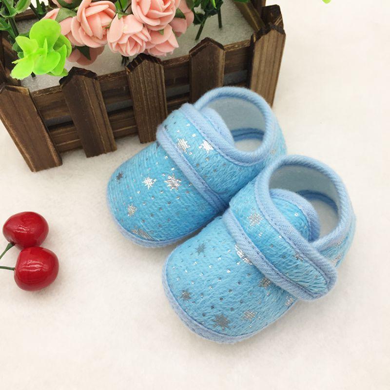Cute Star Print Infants Shoes Baby Boys Girls Hook & Loop Anti-Slip Cotton Prewalker