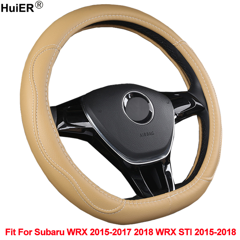 HuiER D Shape Car Steering Wheel Cover PU Leather For Subaru WRX 2015 2016 2017 2018 WRX STI 2015 2016 2017 2018 Car Styling