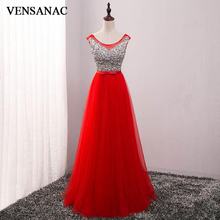 VENSANAC 2018 Crystals O Neck Sequined Long A Line Evening Dresses Elegant Lace Tank Bow Sash Tulle Party Prom Gowns