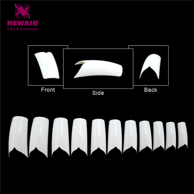 550pcs French Flare False Nail Tips Abs High Quality V Style