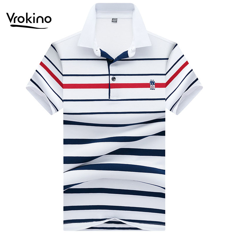 2019 New Men's Summer Striped   POLO   Shirt Men's Business Casual Cotton Short Sleeve   Polo   Shirt High Quality Knit Lapel Top