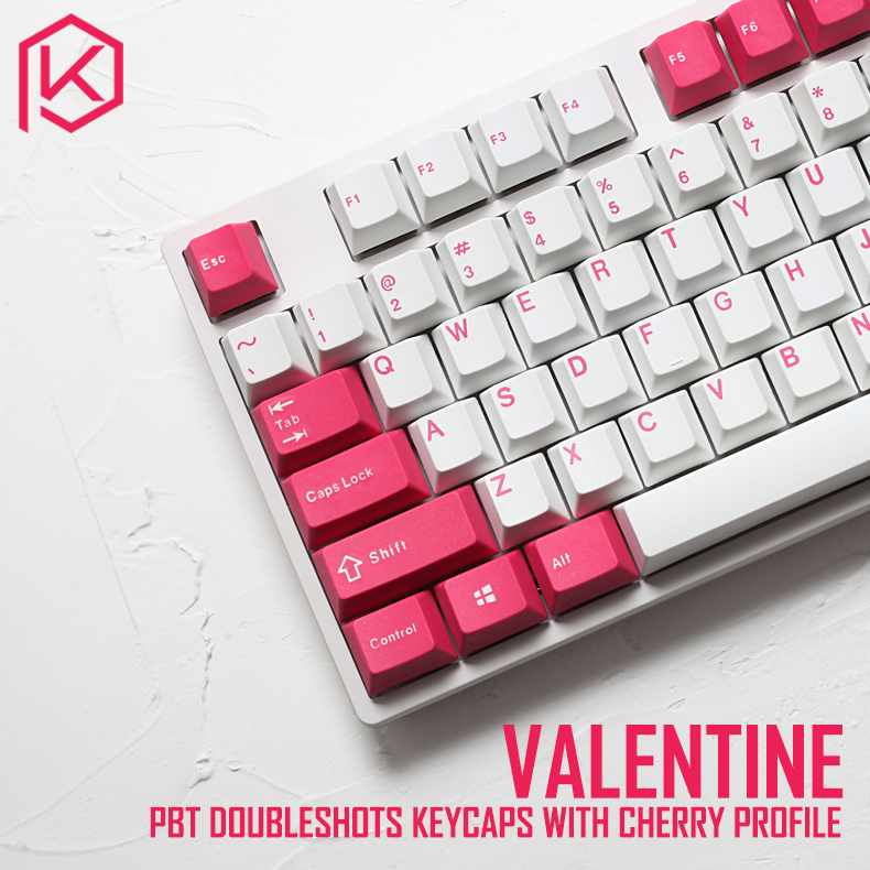 pbt doubleshot keycaps cherry profile Valentine colorway for ansi 104 mechanical keyboard white pink for cherry