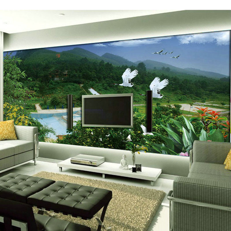european tv backdrop living room sofa large mural wallpape. Black Bedroom Furniture Sets. Home Design Ideas