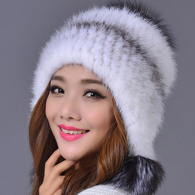 100% Real Mink Fur Hat for Women Warm Thick Female Cap Winter Knitted Mink Fur Beanies Cap with Fur Pom Poms