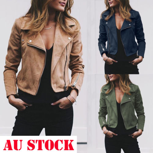 Fashion Women s Ladies Leather Jackets Casual Coats Zip Up Biker Flight Tops Clothes Innrech Market.com