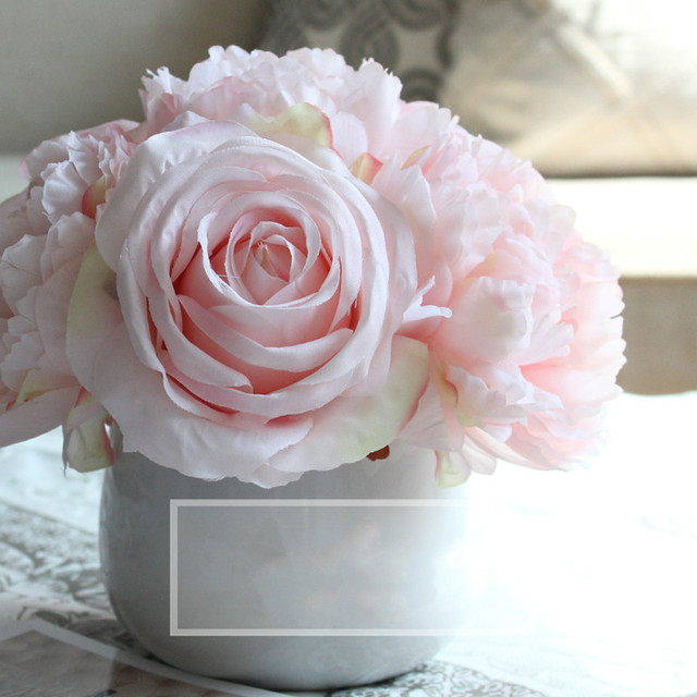 1 Set Flower Vase 7 Heads Artificial Peony Rose Pink Silk Flowers Mariage