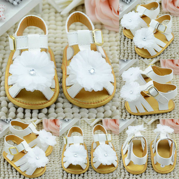 Baby Summer Flower Walking Shoes Infant Girls Soft Sole Shoes Princess Prewalker