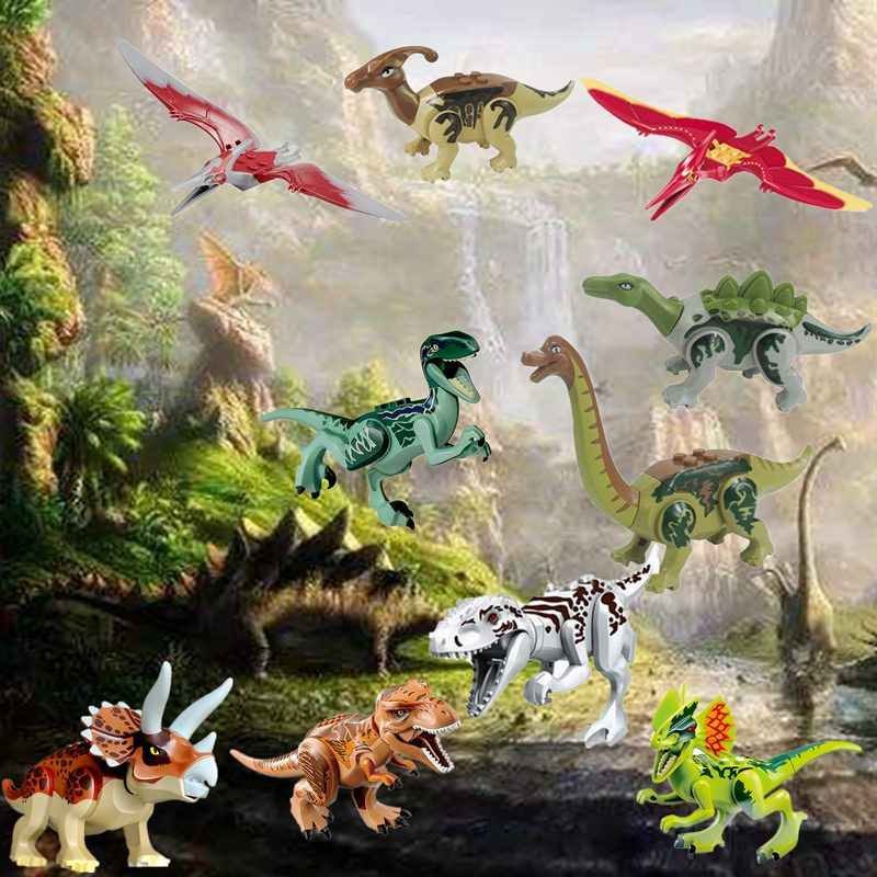 Legoing Blocks Dinosaur Tyrannosaurus Rex Wyvern Velociraptor Stegosaurus Building Blocks Toys For Children Dinosaur Figures
