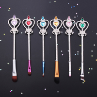 Free Shipping 6pc Fashion Jewelry Crystal Woman Gift Makeup Cosmetic Brush Eyebrow Lip Brush Makeup Brushes