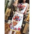 High quality summ new 2017 O-Neck women designer fashion Novelty floral print dress vestidos