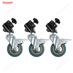 3pcs Photographic light stand casters with brakes 3-inch wheels suitable for 22MM pipe diameter light stand CD50 T02