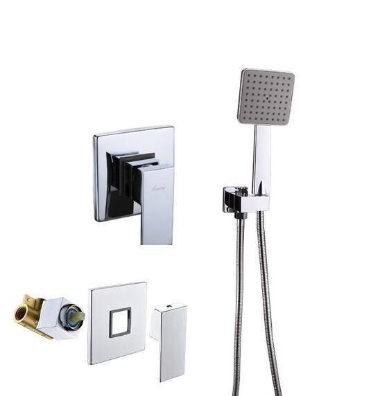 Bathroom Mixer Concealed shower faucet Wall Mounted single function Mixer Taps copper mixing valve+seat+ABS hand shower