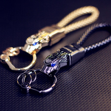 Honest Luxury Men Women Car Key Chain Rhinestones Custom KeyChain High-Grade Purse Charm Jewelry Leather Rope Fathers Day Gift